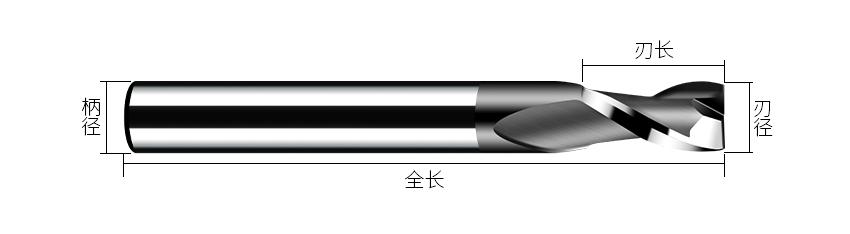 2刃黑色铣刀